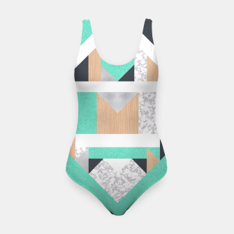 Thumbnail image of Abstract Geo - Mint, Wood and Marble Swimsuit, Live Heroes