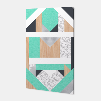 Miniatur Abstract Geo - Mint, Wood and Marble Canvas, Live Heroes