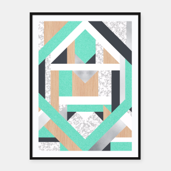 Miniatur Abstract Geo - Mint, Wood and Marble Framed poster, Live Heroes