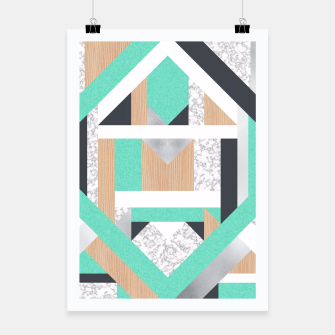 Miniatur Abstract Geo - Mint, Wood and Marble Poster, Live Heroes