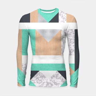 Miniatur Abstract Geo - Mint, Wood and Marble Longsleeve Rashguard , Live Heroes