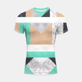 Miniatur Abstract Geo - Mint, Wood and Marble Shortsleeve Rashguard, Live Heroes