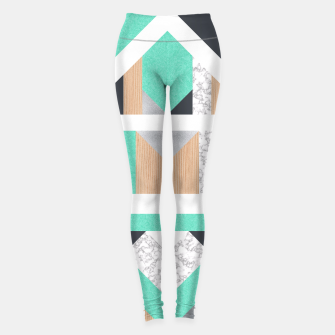 Miniatur Abstract Geo - Mint, Wood and Marble Leggings, Live Heroes