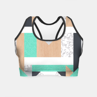 Miniatur Abstract Geo - Mint, Wood and Marble Crop Top, Live Heroes