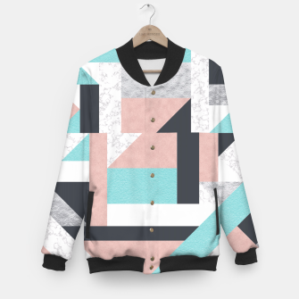 Miniatur Abstract Geo - Silver, Pink, Blue and Marble Baseball Jacket, Live Heroes