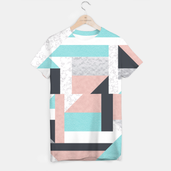 Miniatur Abstract Geo - Silver, Pink, Blue and Marble T-shirt, Live Heroes