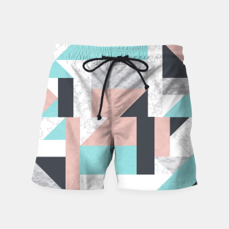Miniatur Abstract Geo - Silver, Pink, Blue and Marble Swim Shorts, Live Heroes