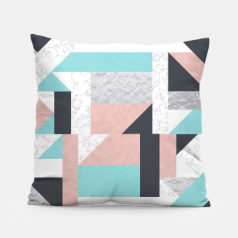 Miniatur Abstract Geo - Silver, Pink, Blue and Marble Pillow, Live Heroes