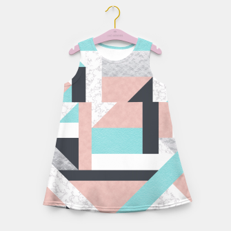Miniatur Abstract Geo - Silver, Pink, Blue and Marble Girl's Summer Dress, Live Heroes