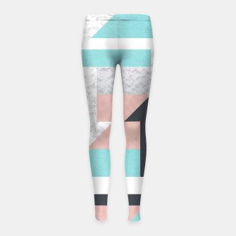 Miniatur Abstract Geo - Silver, Pink, Blue and Marble Girl's Leggings, Live Heroes