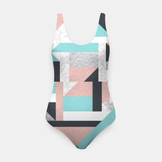 Miniatur Abstract Geo - Silver, Pink, Blue and Marble Swimsuit, Live Heroes