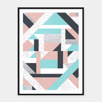 Miniatur Abstract Geo - Silver, Pink, Blue and Marble Framed poster, Live Heroes