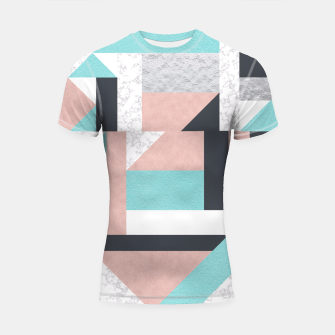 Miniatur Abstract Geo - Silver, Pink, Blue and Marble Shortsleeve Rashguard, Live Heroes