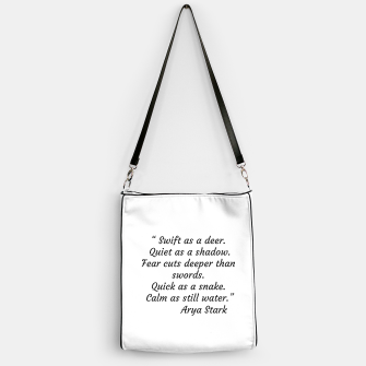 Thumbnail image of Swift as a deer... Arya Stark Quote Handbag, Live Heroes