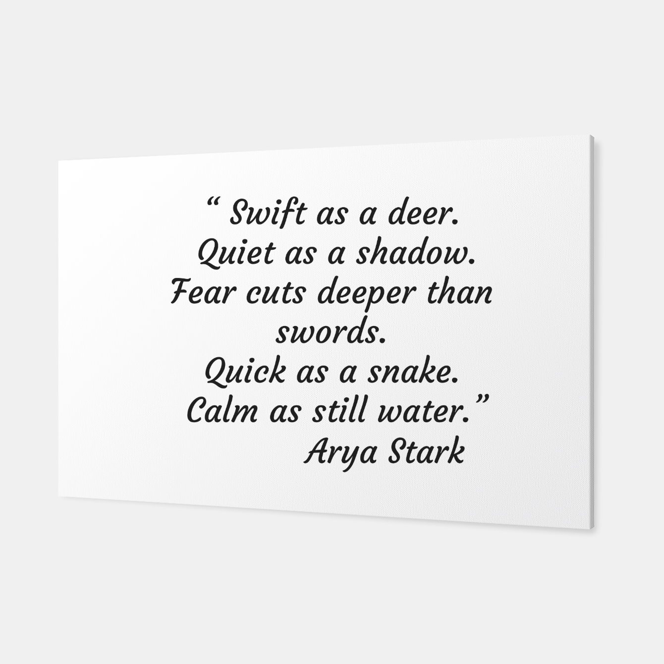 Image of Swift as a deer... Arya Stark Quote Canvas - Live Heroes