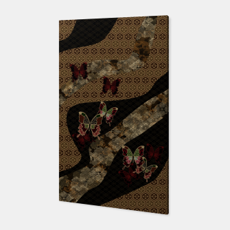 Miniatur Japanese traditional family emblem Kamon with butterfly Canvas, Live Heroes