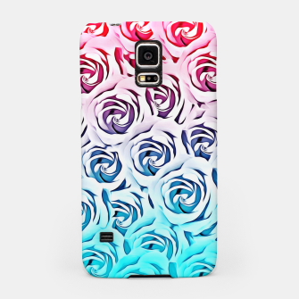 Miniatur blooming rose pattern texture abstract background in pink and blue Samsung Case, Live Heroes