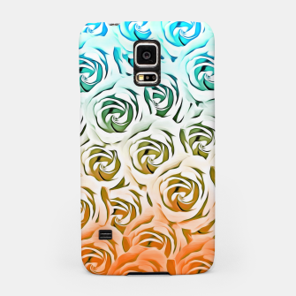 Miniatur blooming rose pattern texture abstract background in blue and pink Samsung Case, Live Heroes