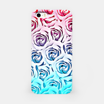 Miniatur blooming rose pattern texture abstract background in pink and blue iPhone Case, Live Heroes