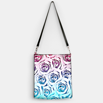 Miniatur blooming rose pattern texture abstract background in pink and blue Handbag, Live Heroes