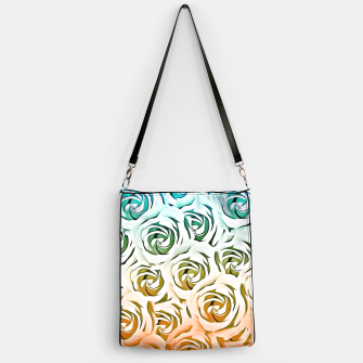 Miniatur blooming rose pattern texture abstract background in blue and pink Handbag, Live Heroes