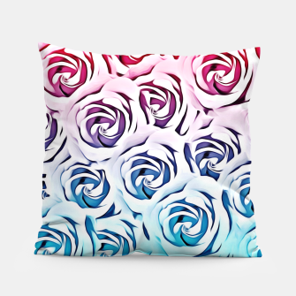 Miniatur blooming rose pattern texture abstract background in pink and blue Pillow, Live Heroes