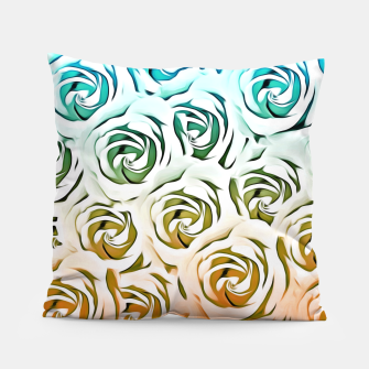 Miniatur blooming rose pattern texture abstract background in blue and pink Pillow, Live Heroes