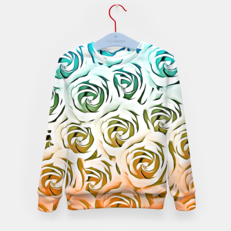 Miniatur blooming rose pattern texture abstract background in blue and pink Kid's Sweater, Live Heroes