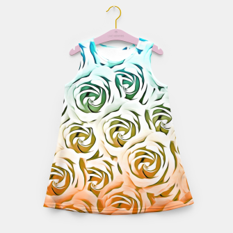 Miniatur blooming rose pattern texture abstract background in blue and pink Girl's Summer Dress, Live Heroes