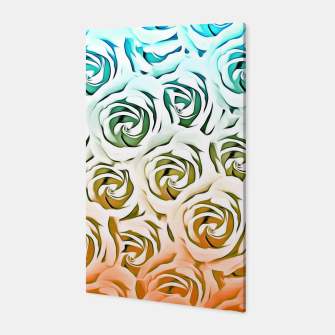 Miniatur blooming rose pattern texture abstract background in blue and pink Canvas, Live Heroes