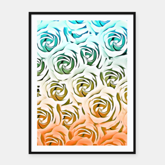 Miniatur blooming rose pattern texture abstract background in blue and pink Framed poster, Live Heroes