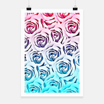 Miniatur blooming rose pattern texture abstract background in pink and blue Poster, Live Heroes