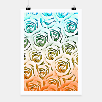 Miniatur blooming rose pattern texture abstract background in blue and pink Poster, Live Heroes