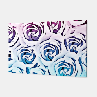 Miniatur blooming rose pattern texture abstract background in pink and blue Canvas, Live Heroes