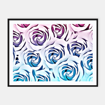 Thumbnail image of blooming rose pattern texture abstract background in pink and blue Framed poster, Live Heroes