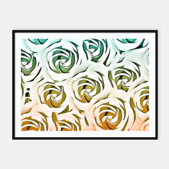 Thumbnail image of blooming rose pattern texture abstract background in blue and pink Framed poster, Live Heroes