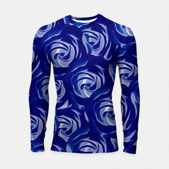Thumbnail image of blooming blue rose pattern texture abstract background Longsleeve Rashguard , Live Heroes