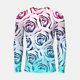 Thumbnail image of blooming rose pattern texture abstract background in pink and blue Longsleeve Rashguard , Live Heroes