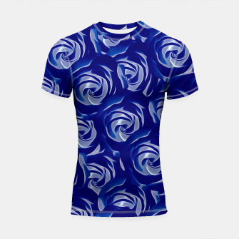 Thumbnail image of blooming blue rose pattern texture abstract background Shortsleeve Rashguard, Live Heroes