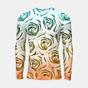 Thumbnail image of blooming rose pattern texture abstract background in blue and pink Longsleeve Rashguard , Live Heroes