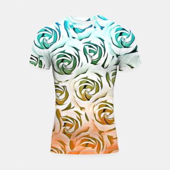 Miniatur blooming rose pattern texture abstract background in blue and pink Shortsleeve Rashguard, Live Heroes