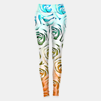 Thumbnail image of blooming rose pattern texture abstract background in blue and pink Leggings, Live Heroes