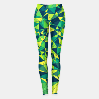 Miniatur Greenery Polygonal Pattern Leggings, Live Heroes