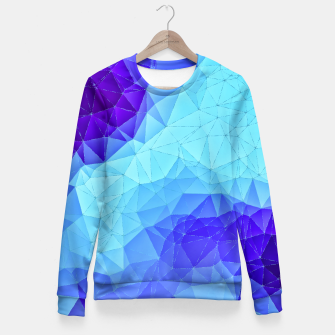 Thumbnail image of Blue Low Poly Design Fitted Waist Sweater, Live Heroes