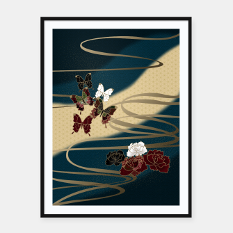 Miniatur Japanesque butterfly & flower Framed poster, Live Heroes