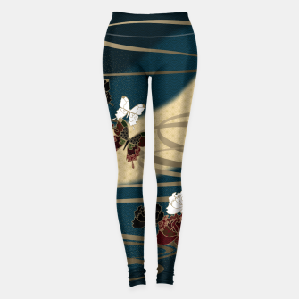 Miniatur Japanesque butterfly & flower Leggings, Live Heroes