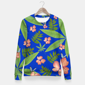 Thumbnail image of Leaves on Blue Fitted Waist Sweater, Live Heroes