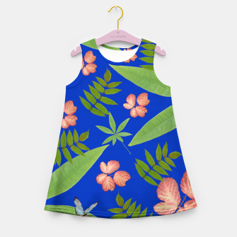 Thumbnail image of Leaves on Blue Girl's Summer Dress, Live Heroes