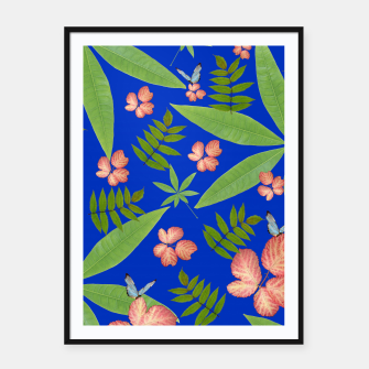 Thumbnail image of Leaves on Blue Framed poster, Live Heroes