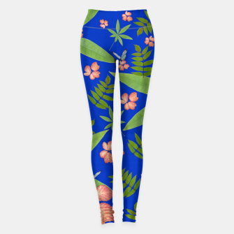 Miniatur Leaves on Blue Leggings, Live Heroes